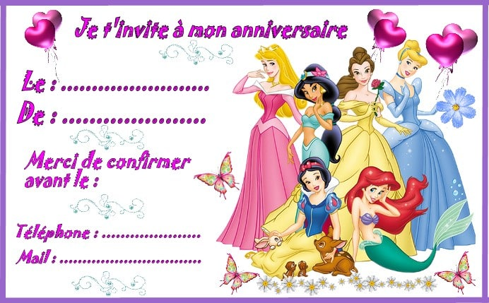 carton invitation princesses disney 123cartes