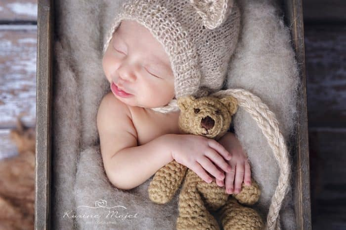 baby boy photo shoot newborn with teddy bear
