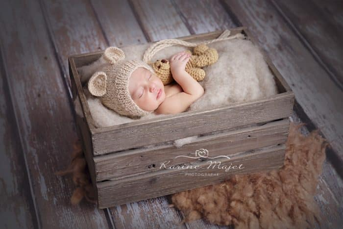 baby boy photo shoot cute newborn in wooden box