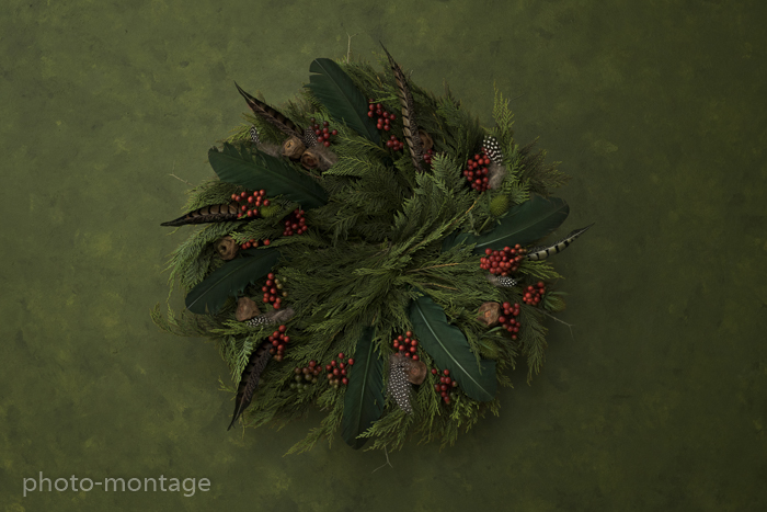 couronne sapin rouge vert-2